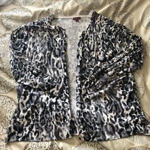 Merona black and white leopard print cardigan